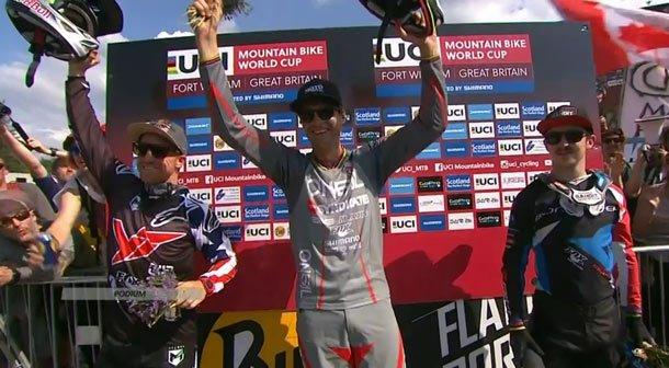 Podium 3ème manche de Coupe du Monde VTT 2016 à Fort William